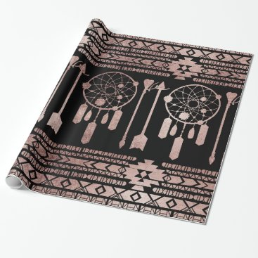 Aztec Themed Dreamcatcher Rose Gold Tribal Aztec on Black Wrapping Paper