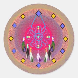 Dreamcatcher Rose Round Stickers