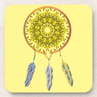 Dreamcatcher with Three Feathers Beverage Coaster