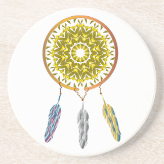 Dreamcatcher with Three Feathers Coaster