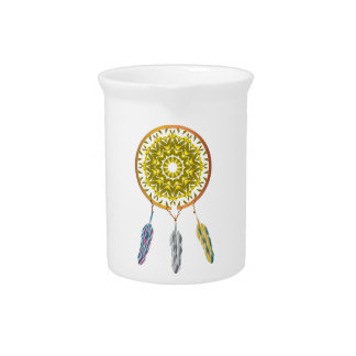 Dreamcatcher with Three Feathers Drink Pitchers
