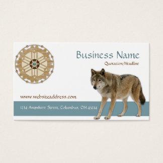 Dreamcatcher wWolf Native American Business Card
