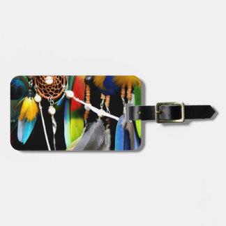 Dreamcatcher y plumas etiquetas bolsas