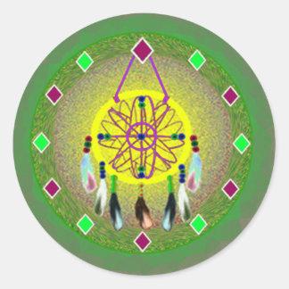 Dreamcatcher Yellow Native American Round Stickers
