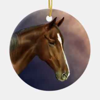 Dreamer, bay horse portrait ceramic ornament