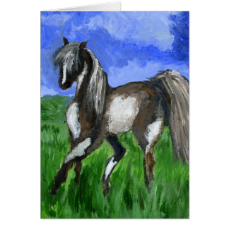 Dreamer pinto horse art card