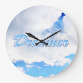 Dreamer Puffy White Clouds and Blue Sky Large Clock
