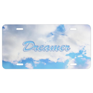 Dreamer Puffy White Clouds and Blue Sky License Plate