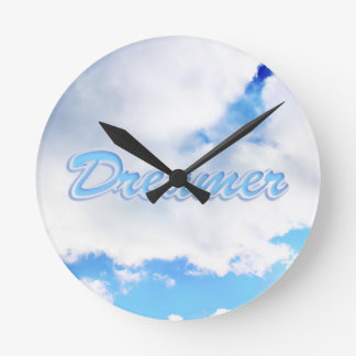 Dreamer Puffy White Clouds and Blue Sky Round Clock
