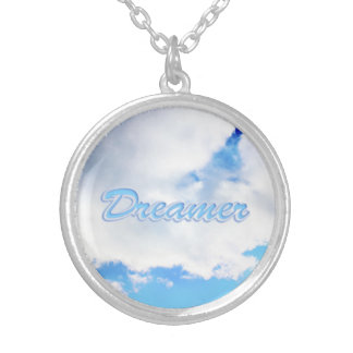 Dreamer Puffy White Clouds and Blue Sky Silver Plated Necklace