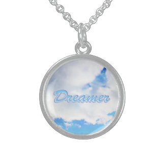 Dreamer Puffy White Clouds and Blue Sky Sterling Silver Necklace