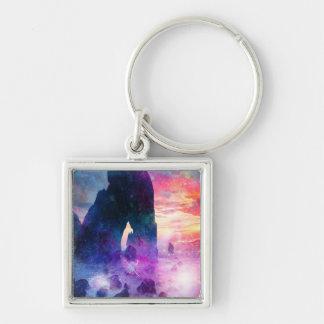 Dreamer's Cove Silver-Colored Square Keychain
