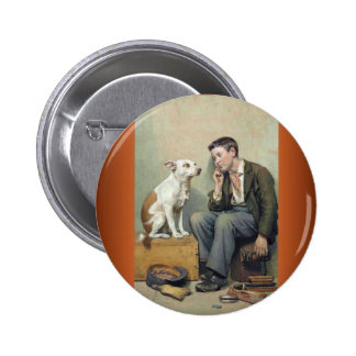 Dreamers ~  Shoeshine Boy with Pet Dog Pinback Button