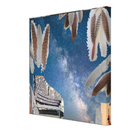 feather collage wrapped canvas prints zazzle