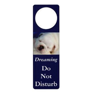 Dreaming Bulldog Do Not Disturb Door Hanger