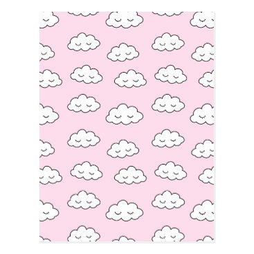 Dreaming clouds in pink postcard