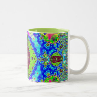 Dreaming in Color - Geometric Fractal Design Two-Tone Coffee Mug