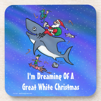 Dreaming Of A Great White Shark Christmas Beverage Coaster