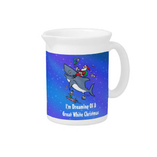 Dreaming Of A Great White Shark Christmas Beverage Pitcher