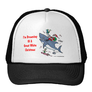Dreaming Of A Great White Shark Christmas Trucker Hat