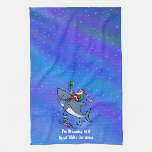 Dreaming Of A Great White Shark Christmas Hand Towel