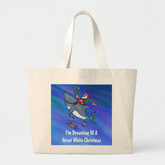 Dreaming Of A Great White Shark Christmas Large Tote Bag