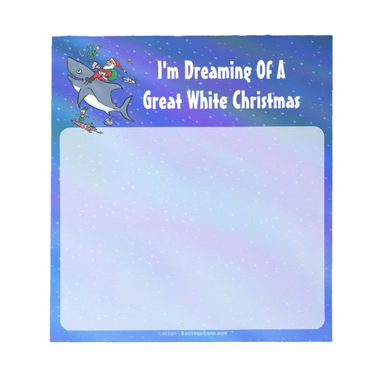 Dreaming Of A Great White Shark Christmas Notepad