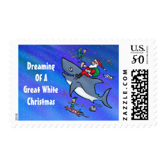Dreaming Of A Great White Shark Christmas Stamps