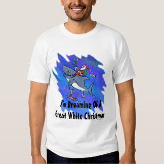 Dreaming Of A Great White Shark Christmas T Shirts
