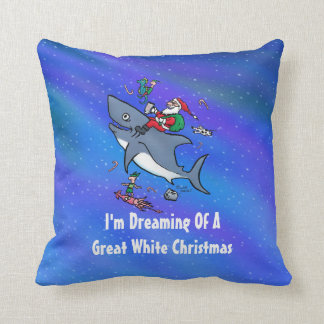 Dreaming Of A Great White Shark Christmas Throw Pillow