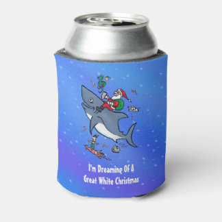 Dreaming Of A Great White Shark Funny Christmas Can Cooler