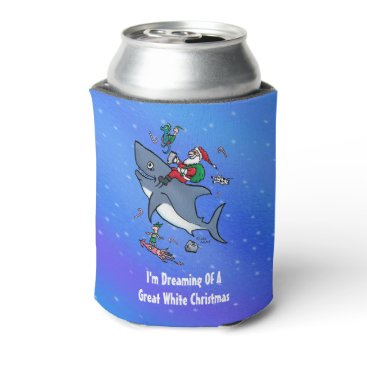 Christmas Themed Dreaming Of A Great White Shark Funny Christmas Can Cooler