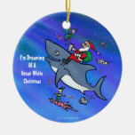 Dreaming Of A Great White Shark Funny Christmas Double-Sided Ceramic Round Christmas Ornament