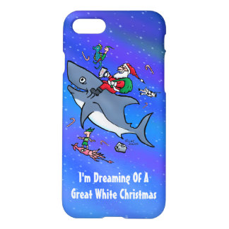 Dreaming Of A Great White Shark Funny Christmas iPhone 8/7 Case