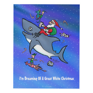 Dreaming Of A Great White Shark Funny Christmas Panel Wall Art