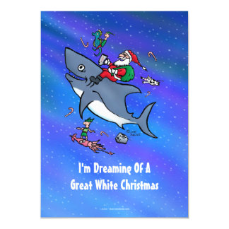 Dreaming Of A Great White Shark Funny Christmas Magnetic Invitations