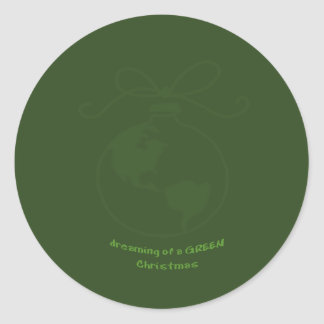 Dreaming of a GREEN Christmas Classic Round Sticker