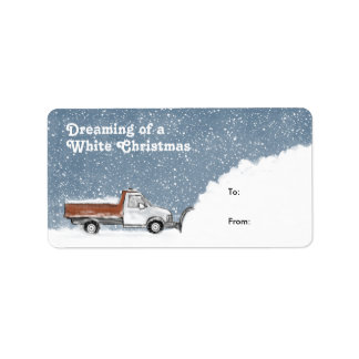 Dreaming of a White Christmas Snowplow Gift Tags Label