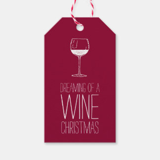 Dreaming of a Wine Christmas   Red & White Holiday Gift Tags