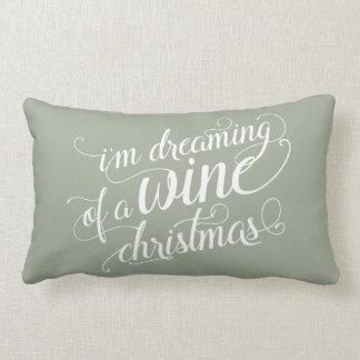 Dreaming of a Wine Christmas   Sage Green Lumbar Pillow