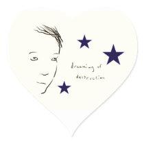 dreaming of destruction heart sticker