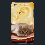 "Dreaming of Fish iPod Touch Case<br><div class=""desc"">A great iPod case that is perfect for any cat lover.  It features a cute cartoon kitty dreaming of fish.  You customize the text at the top.</div>"