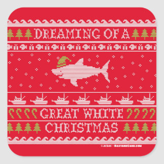 Dreaming of Great White Christmas Ugly Sweater Square Sticker