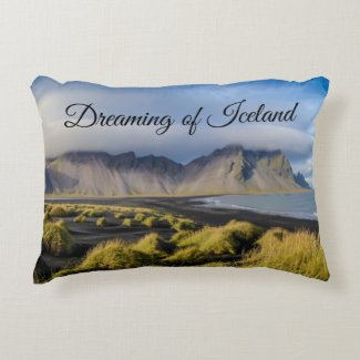 Dreaming of Iceland pillow black sand beach travel