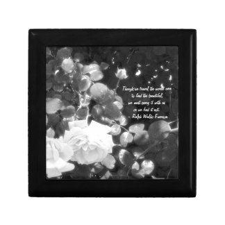 Dreaming of Roses-Black and White/with Quote Keepsake Box