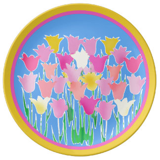 Dreaming of Spring Abstract Tulip Art Porcelain Plate