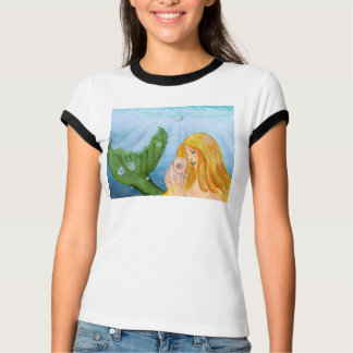 Dreaming of Sunlit Tides Mermaid with Shell T-Shirt
