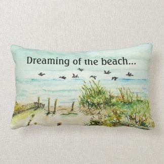"""Dreaming of the Beach"" Lumbar Throw Pillow"