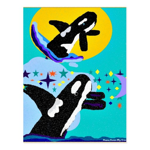 Dreaming of the Sun killer Whales postcard