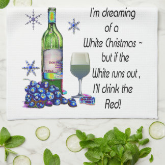 Dreaming of White Christmas, Funny Wine Art Gifts Hand Towel